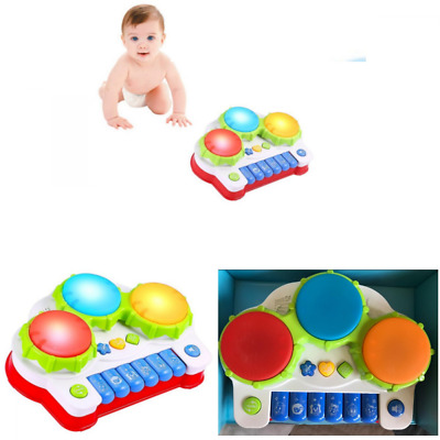 Musical Toy Keyboard Set w/ Piano Drum & Lights Christmas Gift for Kids Toddler