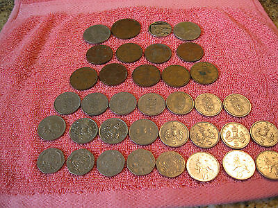 Collection of 37 Queen Elizabeth II Coins from England