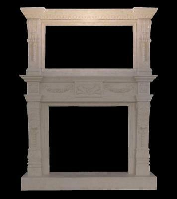 Beautiful Monumental Hand Carved Marble Fireplace Estate Mantel - Sg3