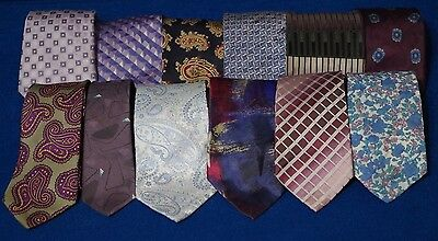 Lot Of 12 Purple Blue Gray Neck Ties For Arts & Crafts - Some Vintage