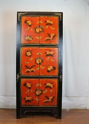 """72"""" Height Mongolian Style Tall Cabinet Colorful Butterfly Floral Graphics"""