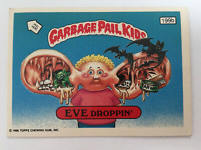 1987 UK Garbage Pail Kids 5th Series 199b EVE Droppin' : Checklist Black Bars