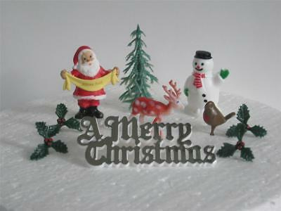 Traditional Set Of Christmas Cake Decorations - Silver Motto
