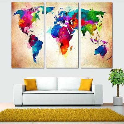 3pcs World Map Modern Wall Art Oil Painting Canvas Painting Home Decor Decal N7