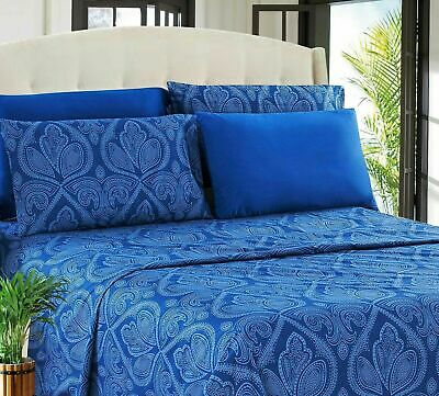 6 Piece Paisley Printed Egyptian Comfort 1800 Count Bed Sheet Set