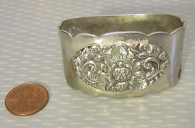 vtg solid 800 SILVER NAPKIN RING deeply carved lotus flower handcrafted Asian