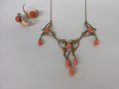 ANTIQUE VICTORIAN 10K YELLOW GOLD LAVALIER NECKLACE & EARRING Set~~21 Grams!
