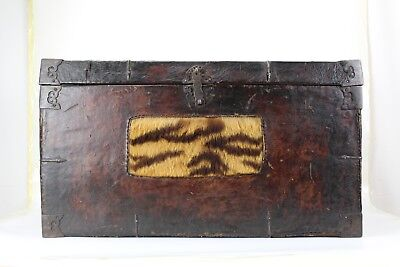 An Original 18th Century Tibetan Leather Wood Trunk /Chest With Fur