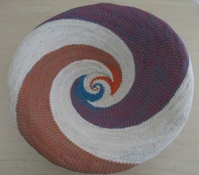 Handcrafted Wire Bowl Basket Purple Orange Blue Off White Africa