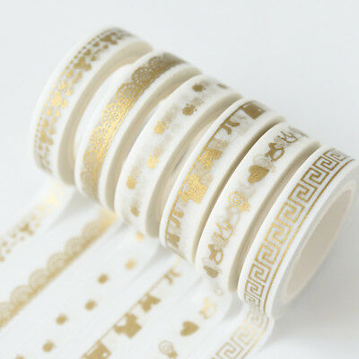 Roll Washi Tape Metallic Gold Sticky Paper Masking Adhesive Craft DIY Decorative