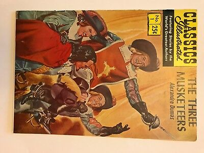 CLASSICS ILLUSTRATED #1 THE THREE MUSKETEERS Alexandre Dumas  near mint...