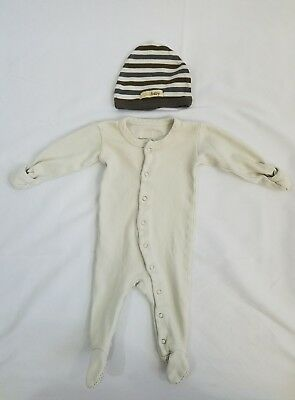 L'oved Baby Organic Cotton Footed Sleeper & Hat Size 0-3 Months