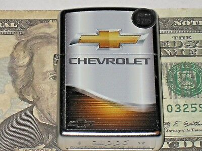 New Windproof ZIPPO USA LIGHTER GM 01682 Chevrolet Elegance Chevy Bowtie Satin C