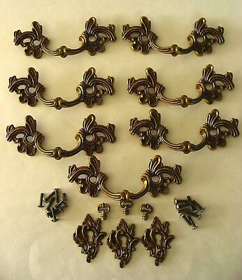 7 Vintage French Provincial Drawer Pulls Handles & Keyhole Escutcheons Hardware