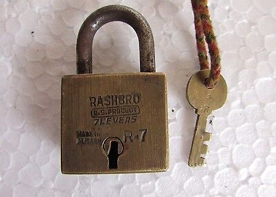 Vintage RASHBRO 7 lever Brass Padlock With Original 1 key, Collectible