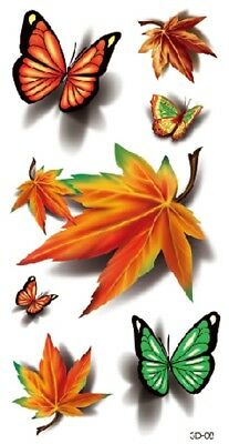 US SELLER, 3D maple leaf butterfly temporary tattoo fake tattoos