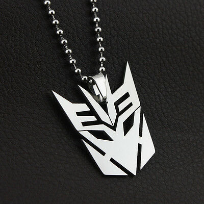 Transformers Decepticons Stainless Steel Silver Superhero Necklace Chain Pendent