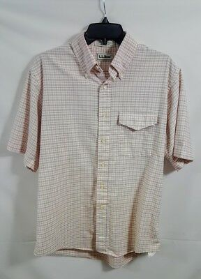 Vintage LL Bean Short Sleeve Button Front Shirt Men's Size 16 1/2 Made in USA