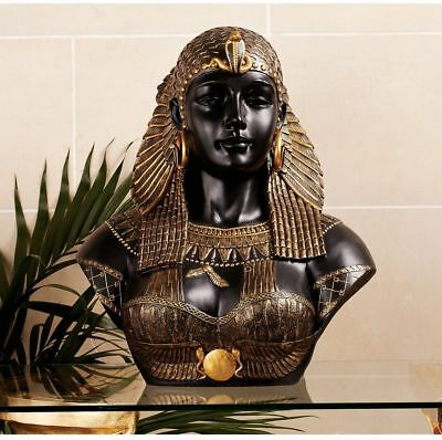 Neoclassical Queen of the Nile Cleopatra Bust Sculpture Egyptian Pharaoh Statue