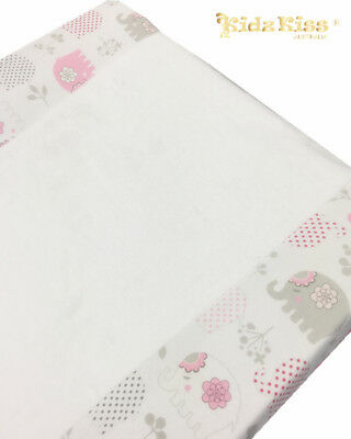 KIDZ KISS Jersey Velour Fitted Change Mat Cover [Ellie Elephant / Pink]
