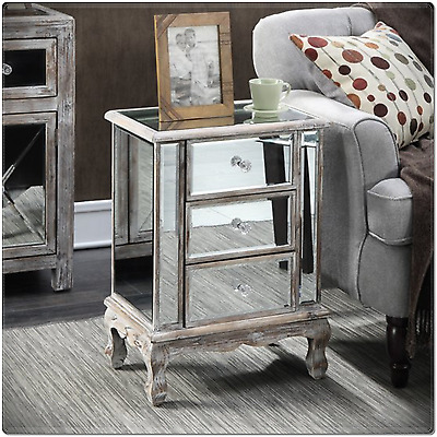 Mirrored Nightstand 3 Drawer Modern Mirror Side End Table Storage Accent  Cabinet
