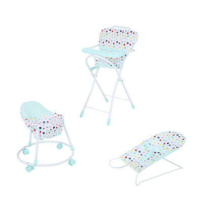 Doll Kids Toys Set Pretend Toy Walker Bouncer High Chair Spots Mint Green