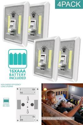 LED Night Light 4 Pack Battery Powered Wireless Emergency Switch Control Lights