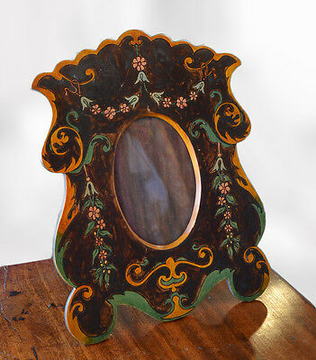 Art Nouveau style vintage shabby chic photo frame hand painted flowers scrolls
