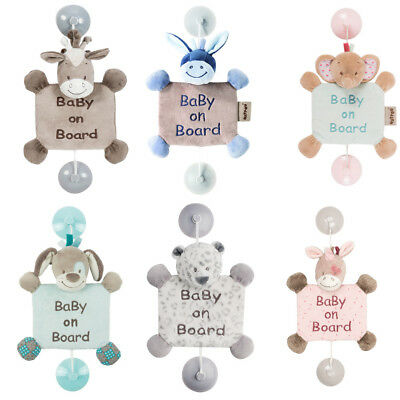 Nattou Animal Soft Toy Baby On Board Suction Cup Car Sign