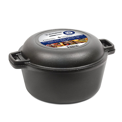 Seasoned Cast Iron 5 Quart Dutch Oven with Skillet Lid Collectible