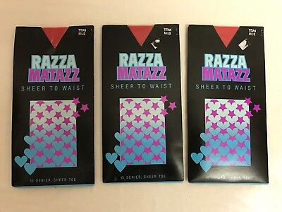 Vintage pantyhose from Razzmatazz 3 x Packs size Mids Colour Titan