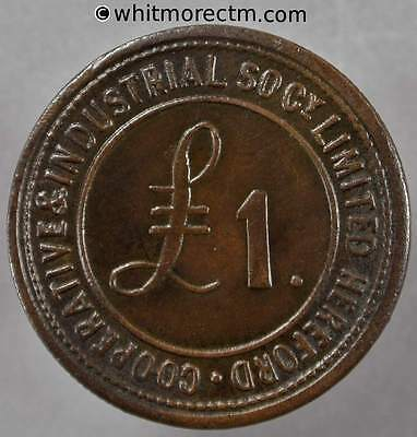 Co-Operative Society Token Hereford Industrial 28mm £1 / Border only- Bronze