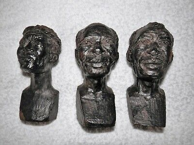 Authentic 3 Dark Hard Wood African Hand Carved Tribal Heads Busts