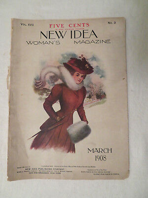 Antique New Idea Woman's Fashion Magazine March 1908 AS IS