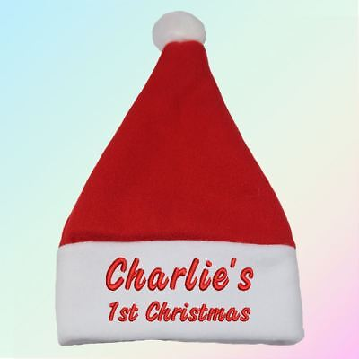 """""""Name"""" 1st Christmas Embroidered Baby Santa Hat Gift Personalised Boy Girl"""