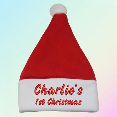 """Name"" 1st Christmas - Personalised, Embroidered Santa Hat"