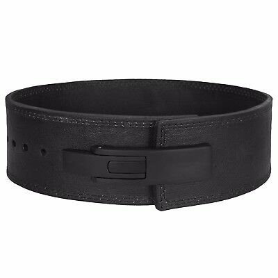 Weight Lifting Lever Belt Style Inzer Power Lifting Belt BLACK GENUINE LEATHER