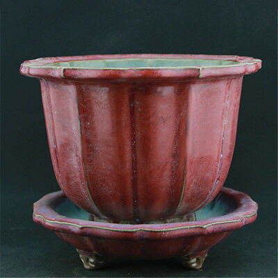 China old antique Porcelain SONG JUN kiln rose violet Fambe glaze Flowerpot