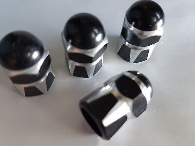 Black / Silver Car Bike Van Motorbike Wheel Tyre Valve Metal Dust Caps x 4