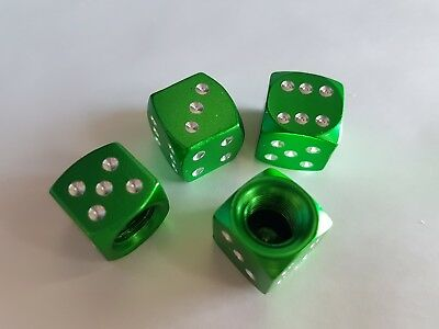 Green Dice Car Wheel Bike Motorbike BMX Tyre Valves Metal Dust Caps x 4