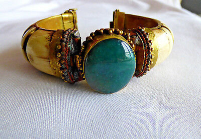 Vintage Beautiful Bone Bracelet With Real Stones In A Brass