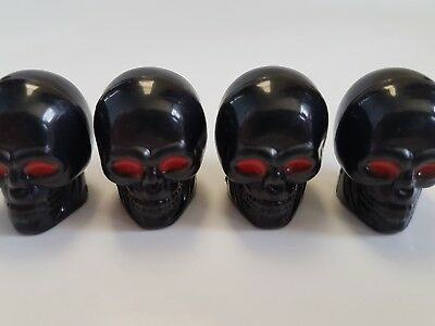 Black Skull Red Eyes Car Van Bike Motorbike Wheel Tyre Valve Dust Caps x 4