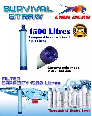 1500 Litere Survival Water Filter Straw With Screw-On Bottle Top Feature