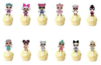 21 lol dolls STAND UP Cupcake PRE-CUT Topper Edible Paper Decorations edible