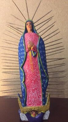 """Mexican Folk Signed Wood Hand Carved Guadalupe Virgin Statue with Spikes 12.5"""""""