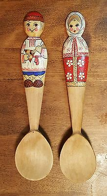 Vintage Set of 2 HAND PAINTED WOODEN SPOONS ~ Man Woman ~ Russian Ukrainian