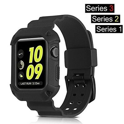 Apple Watch Band Series 3 Rugged Armor Protective Case 42mm Black Strap