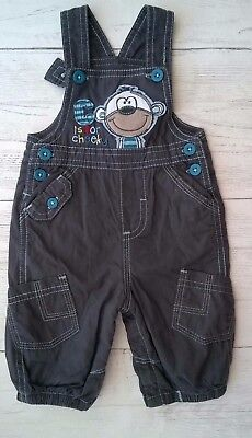 Baby Boys  Dungarees Grey with Blue Stitch Detail Lined 0-3 months