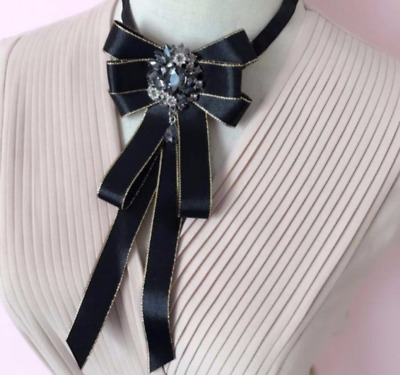Vintage Style Dress Shirt Accessories Black Crystal Bow Tie Neck Tie