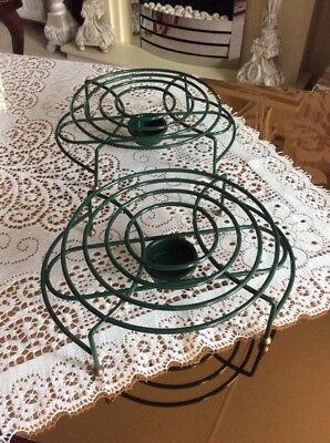 A Pair Of Green Metal Table Top Tea Light Food / Plate Warmers #br